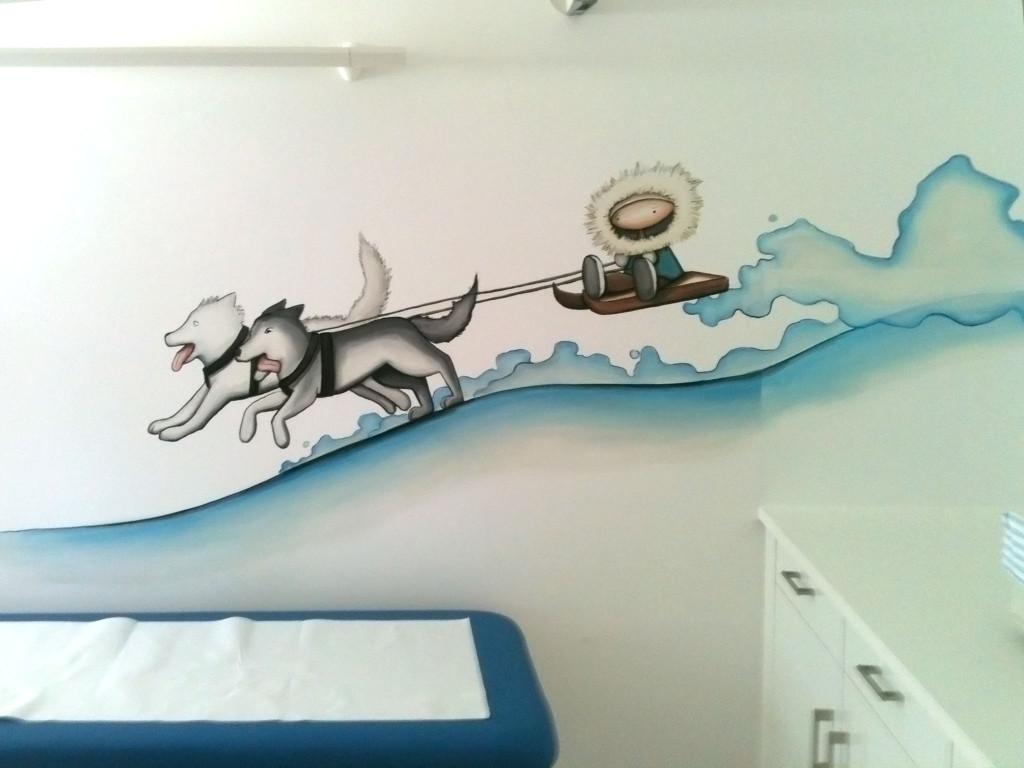 fresque enfant peinture murale traineaux chien neige