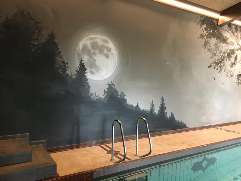 Fresque peinture murale Corentin Meige Vevey Vaud suisse escale décoration décorateur trompe l'oeil montavon jura Courtételle