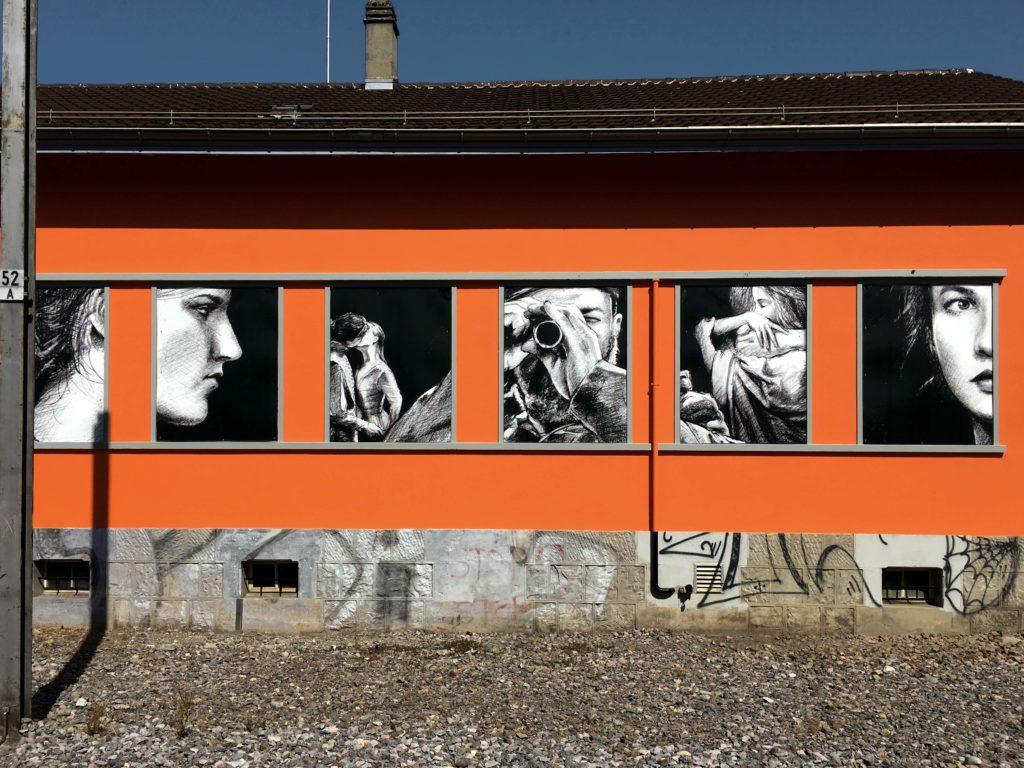 Vevey gare dessin dessins fresque trois quarts corentin Meige décorateur décor théâtre theatre