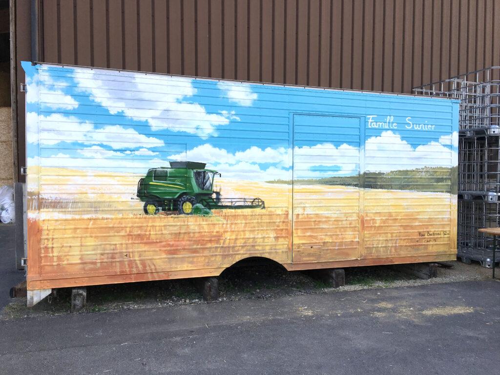 fresque trompe l'oeil peinture murale Corentin Meige suisse vaud Sunier famille ferme