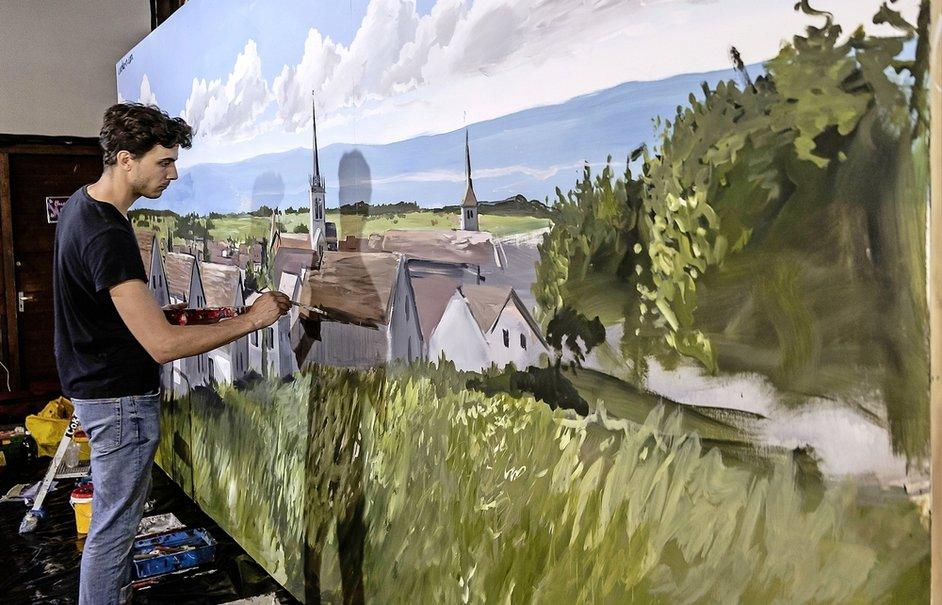 peinture en direct corentin meige fresque trompe l'oeil suisse vaud fribourg maison le parquier gruyère