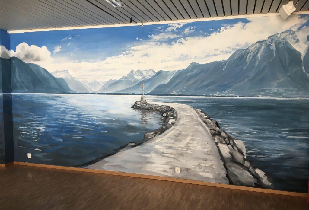 fresque live peinture murale Corentin Meige décorateur Lausanne Vevey Vaud suisse trompe l'oeil piano Camille Meige